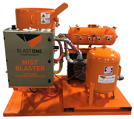Skid mounted wet blasting package mistblaster