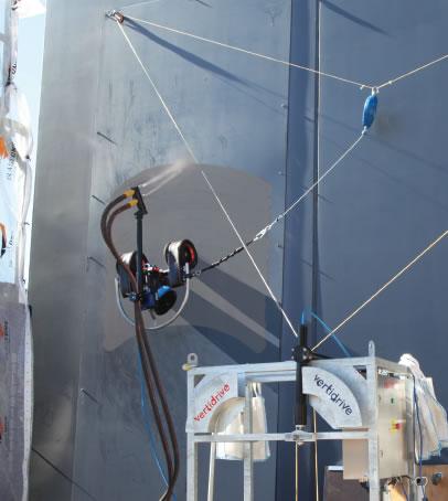 vertidrive blasting robot wall magnetic ship tank